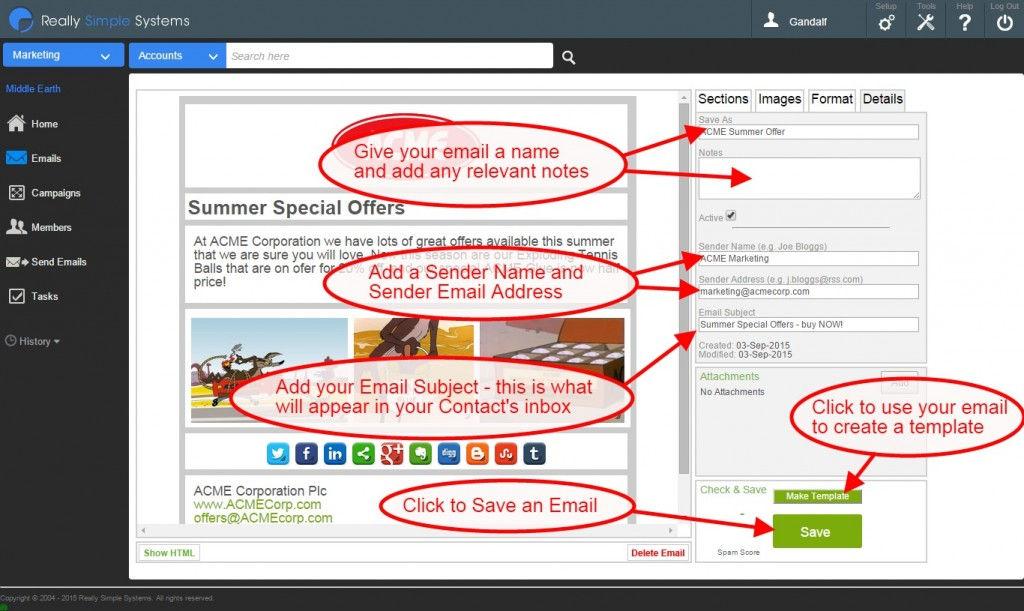 Email CRM: Add details to you email