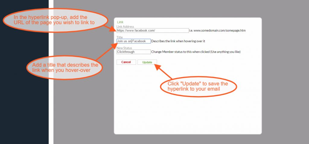 Add a hyperlink to an email