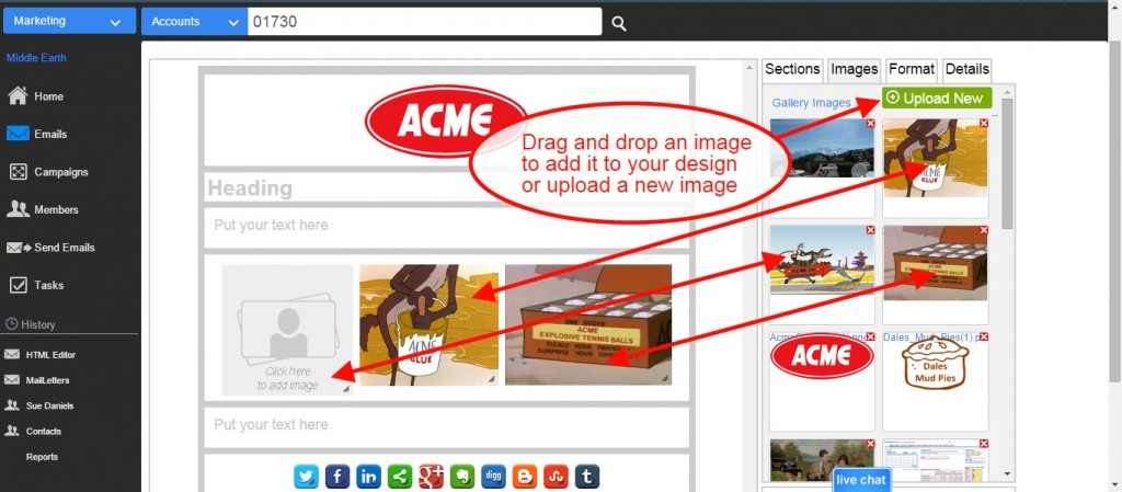 Email CRM: Create and Email and add an image