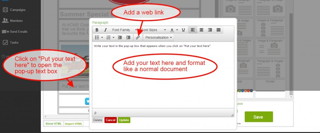Email CRM: Add Text to an Email