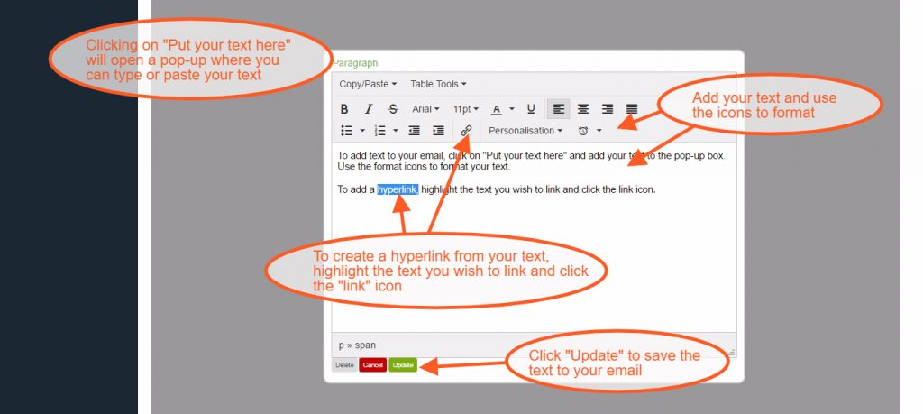 Add Text to an Email