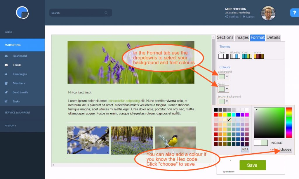 Adding a Colour Format to your Email