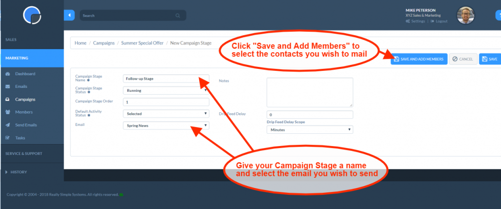 Email Campaigns: Create Campaign Stage
