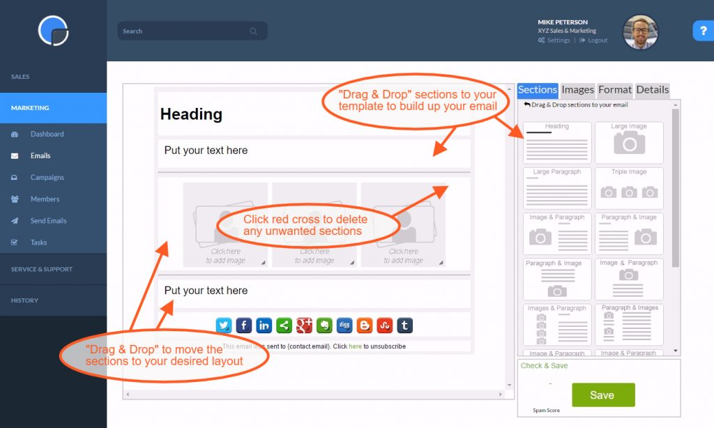 Creating and Email in the Marketing Module