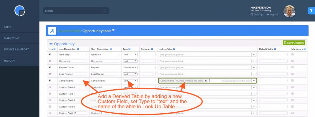 Look Up Tables: Adding a Derived Table