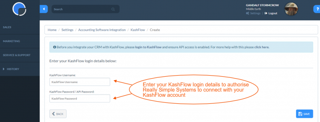 Enter your Kashflow login details