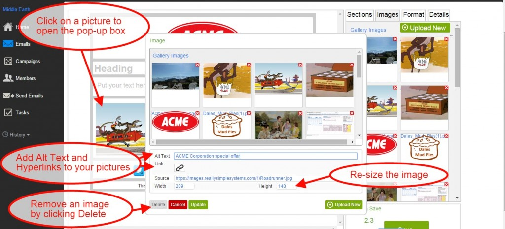Email CRM: Editing an image in your email
