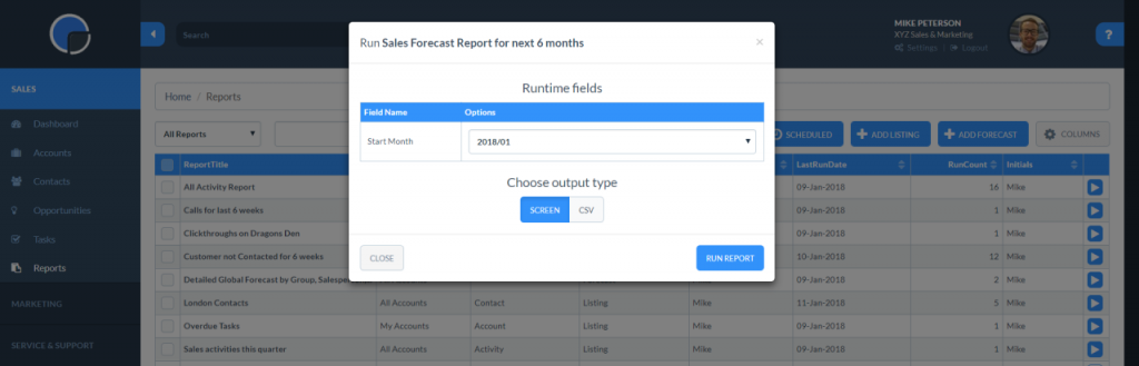 CRM Report Writer: Run-time option