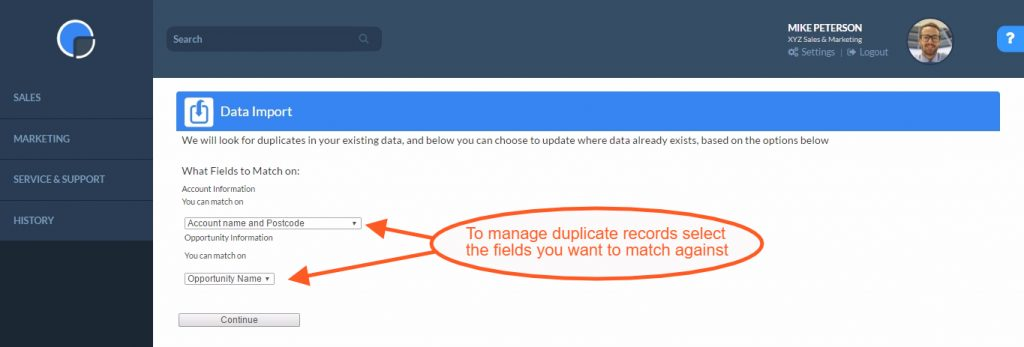 CRM Data Import Tool: Duplicate Fields Matching