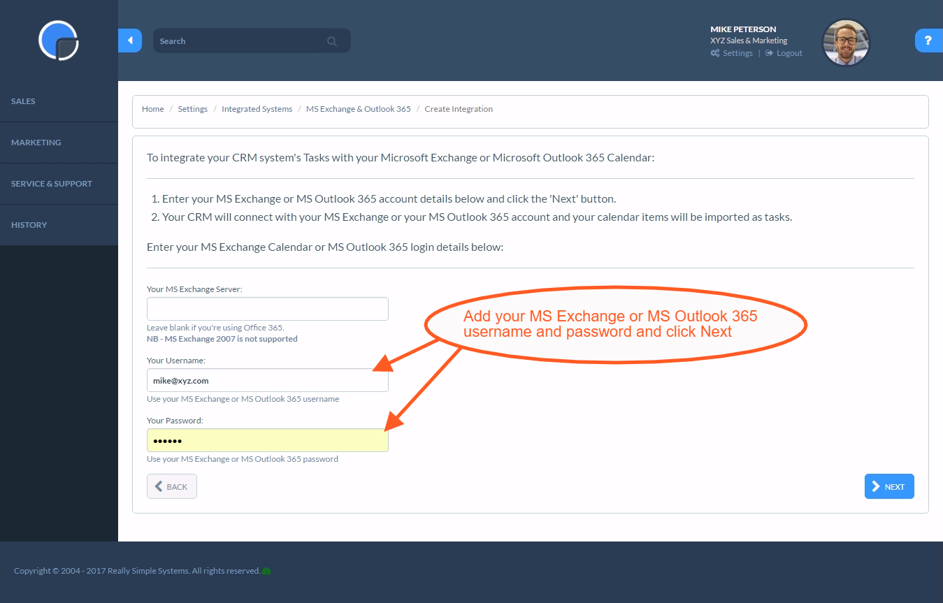 microsoft outlook exchange calendar sync with your crm