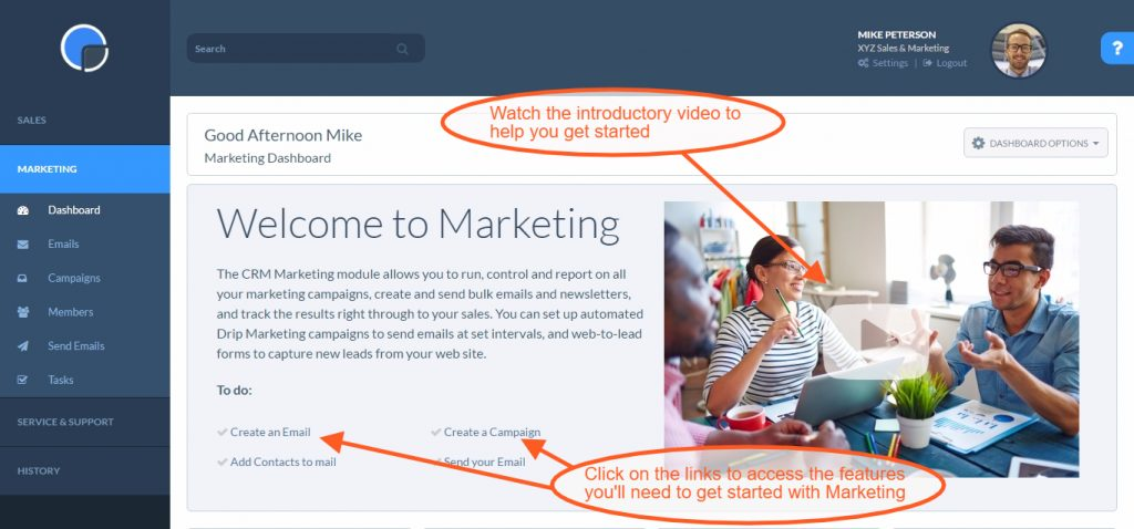 CRM Marketing: The Welcome Dashboard