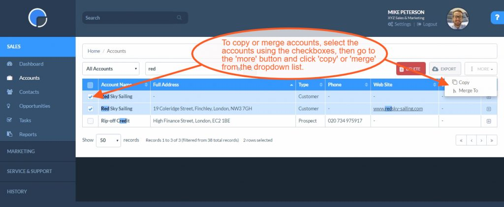 CRM Accounts: Copy or Merge Duplicates in your CRM