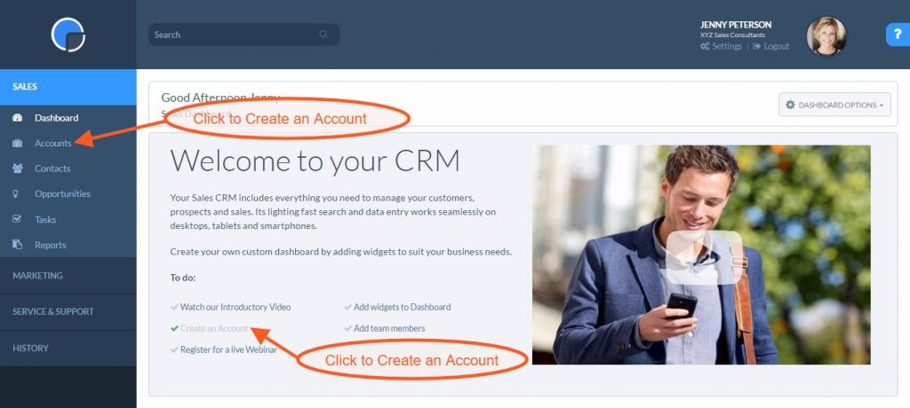 CRM Getting Started - Create an Account