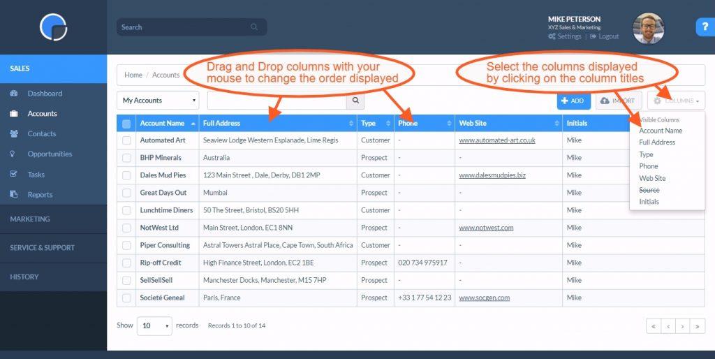 CRM Accounts: Custom Tables