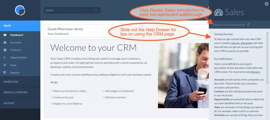 Getting Started with your CRM - Help Drawers