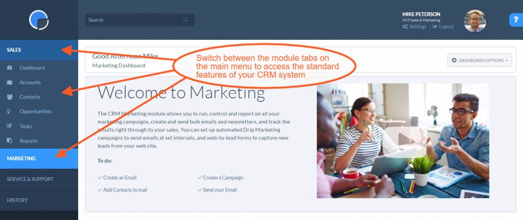 CRM Navigation: Using the Main Menu