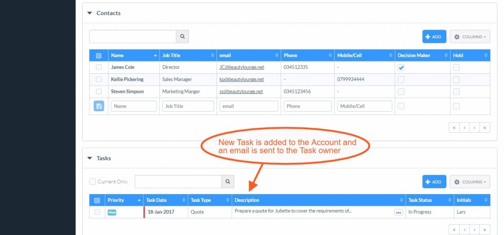 Managing Tasks: CRM Tasks added to Account Page