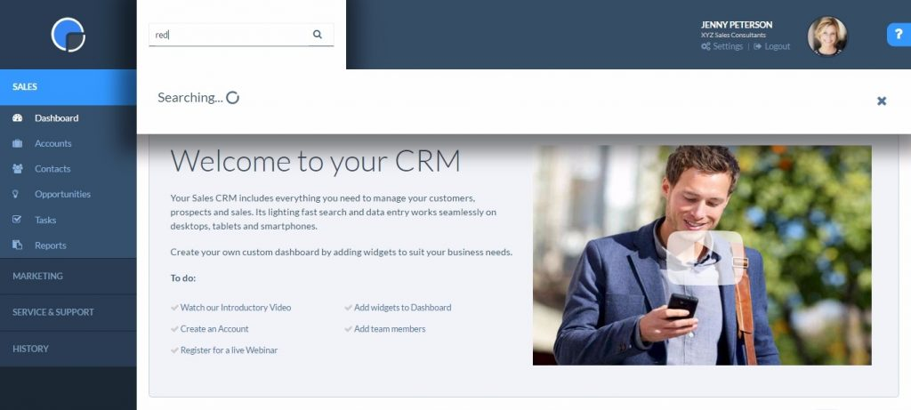 CRM Getting Started - Search bar