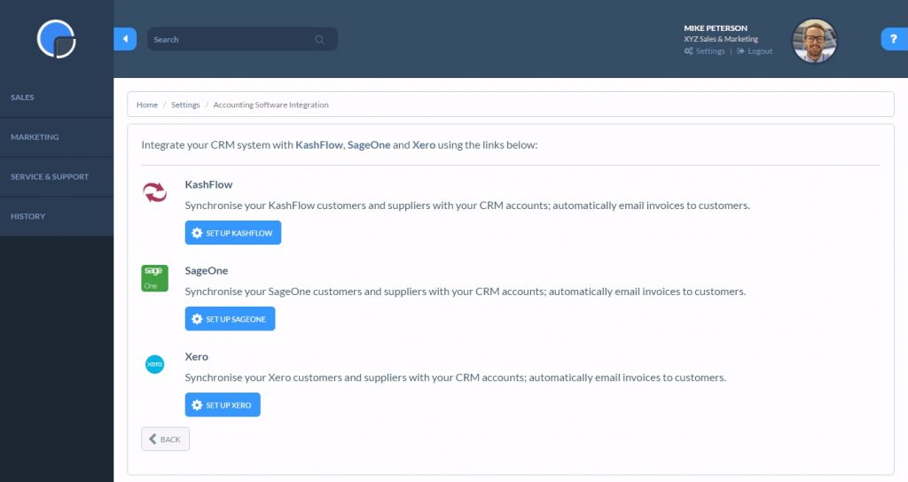 CRM SageOne Integration