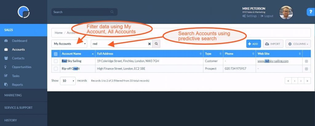 Adding and viewing your CRM Accounts