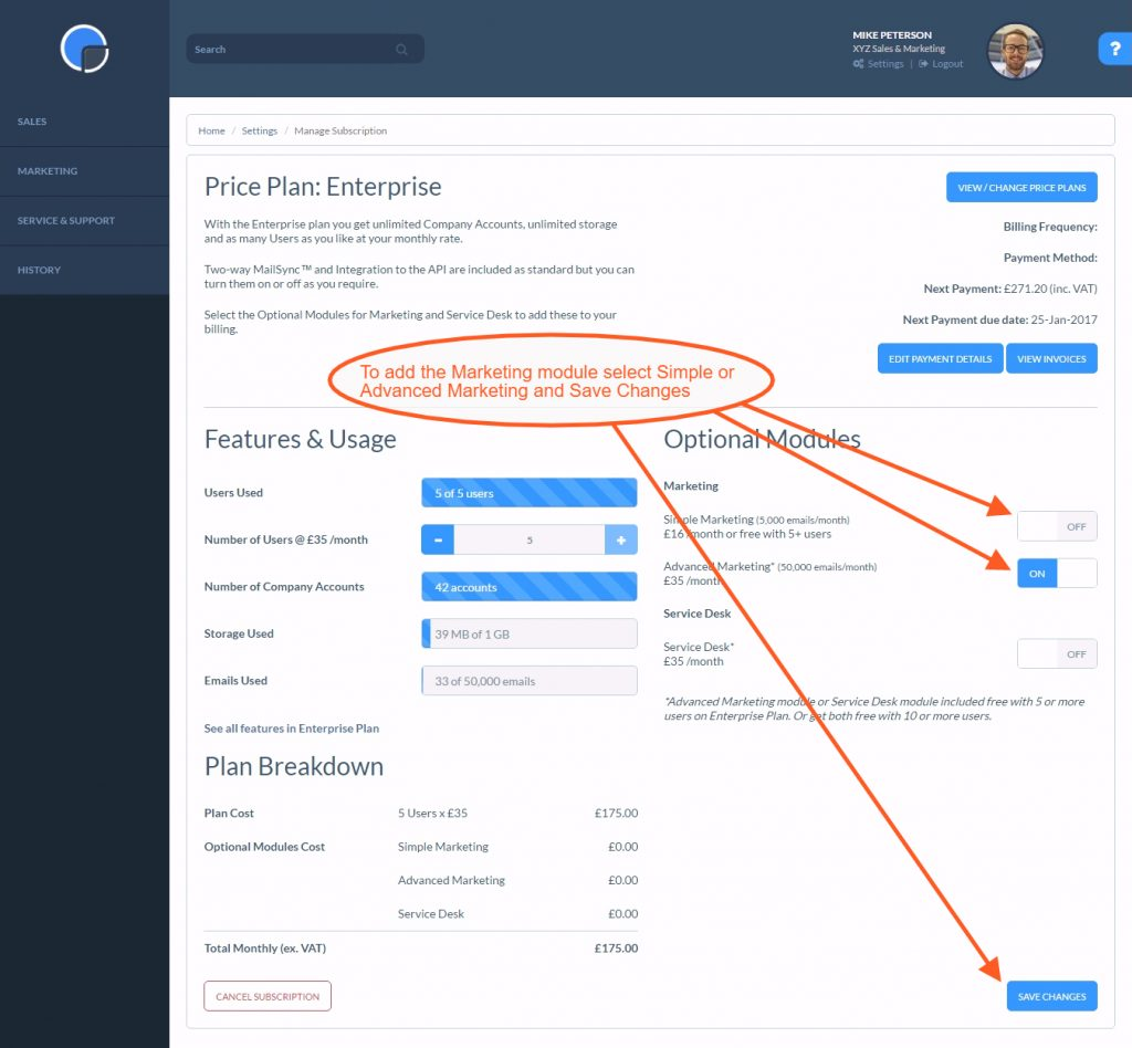 Add the Marketing CRM Module to your Subscription