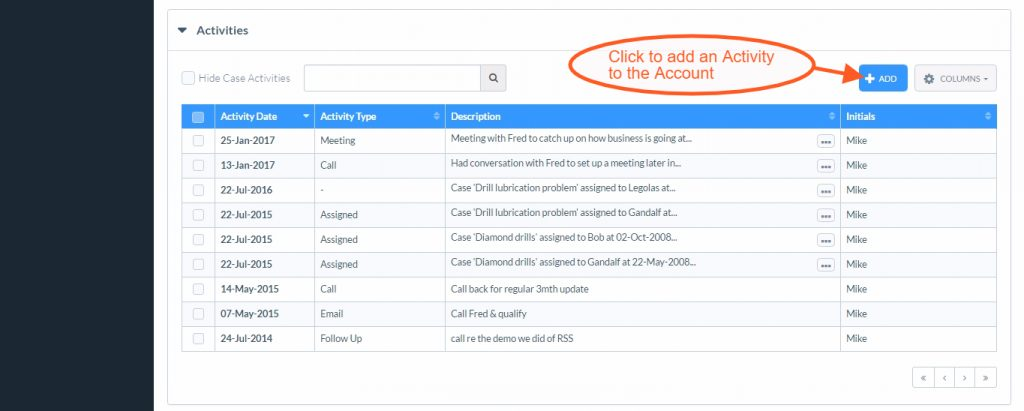Adding Activities to your CRM