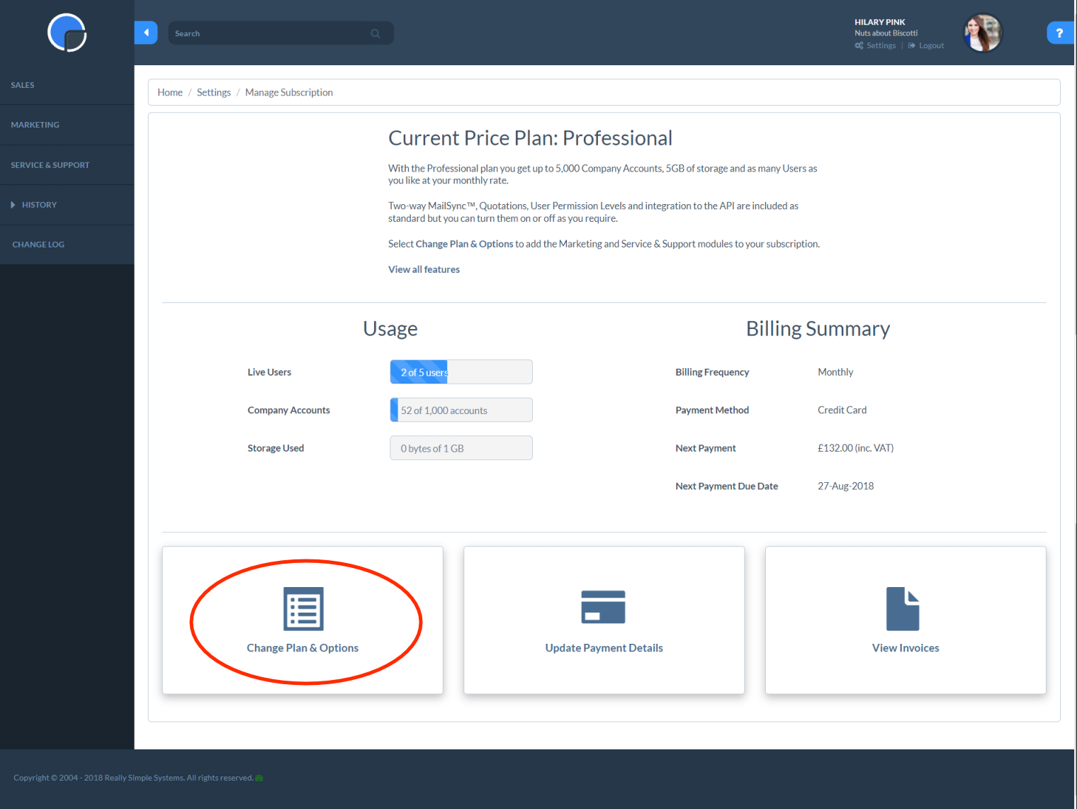Manage Subscription: Change Plan & Options