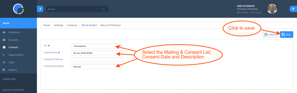 Mailing & Consent Lists: Add a Contact
