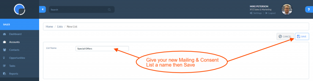 Mailing & Consent Lists: Create a new List