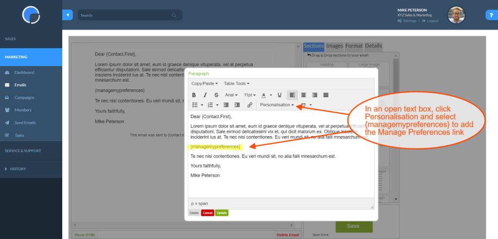 Manage mailing preferences