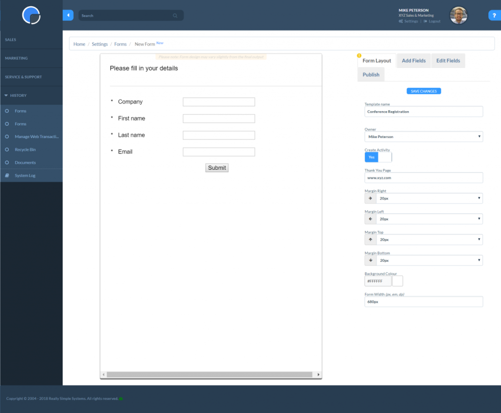 Edit your Web Forms layout