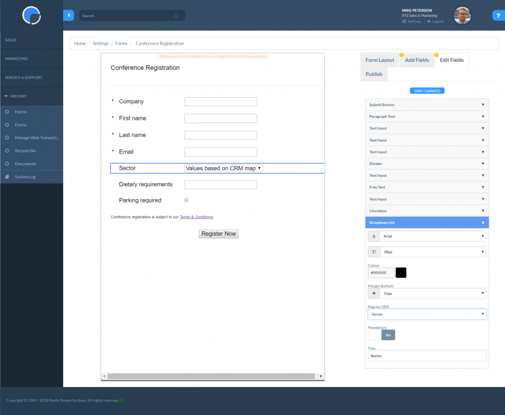 Edit the Fields in your Web Forms