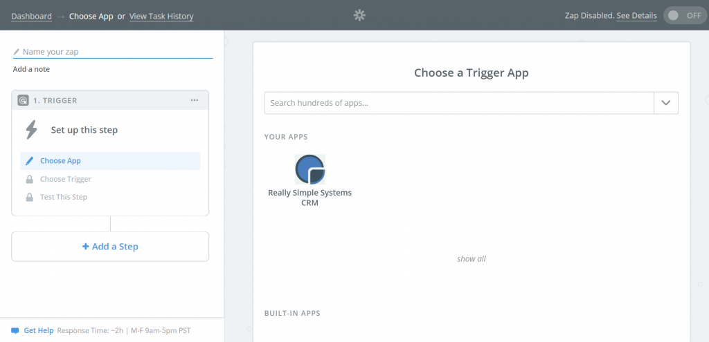 Create a Zap in Zapier for Really Simple Systems CRM