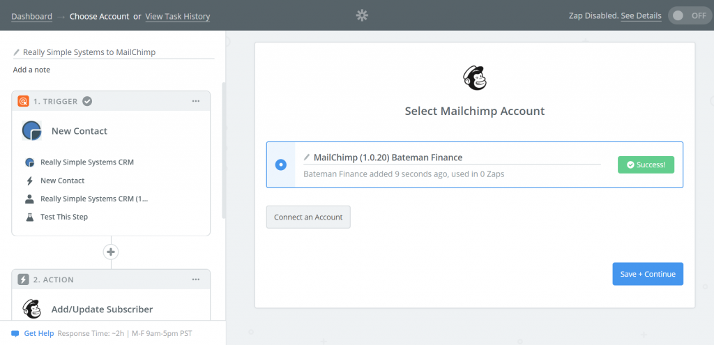 Create a Zap to MailChimp