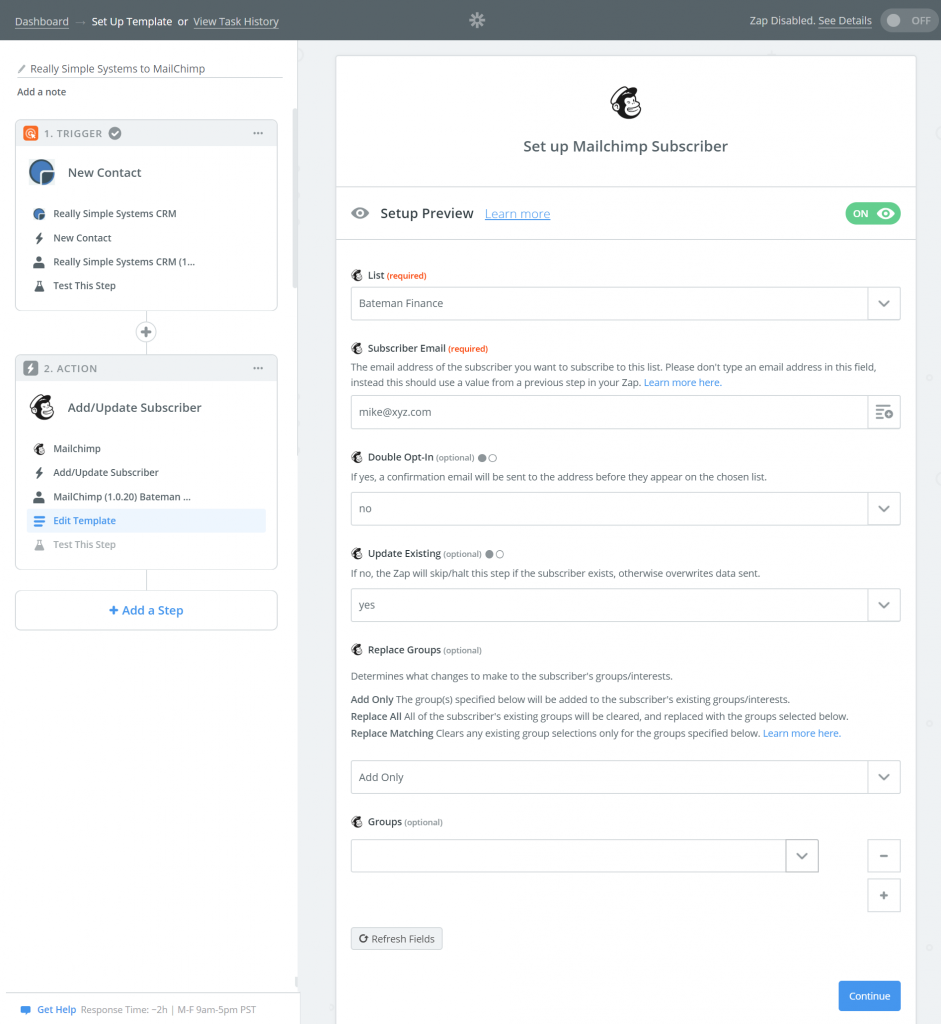 Create a Zapier connect with Really Simple Systems and MailChimp
