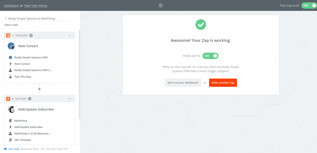 Create a MailChimp Action in Zapier