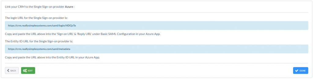 Really Simple Systems CRM URLS for Azure integration