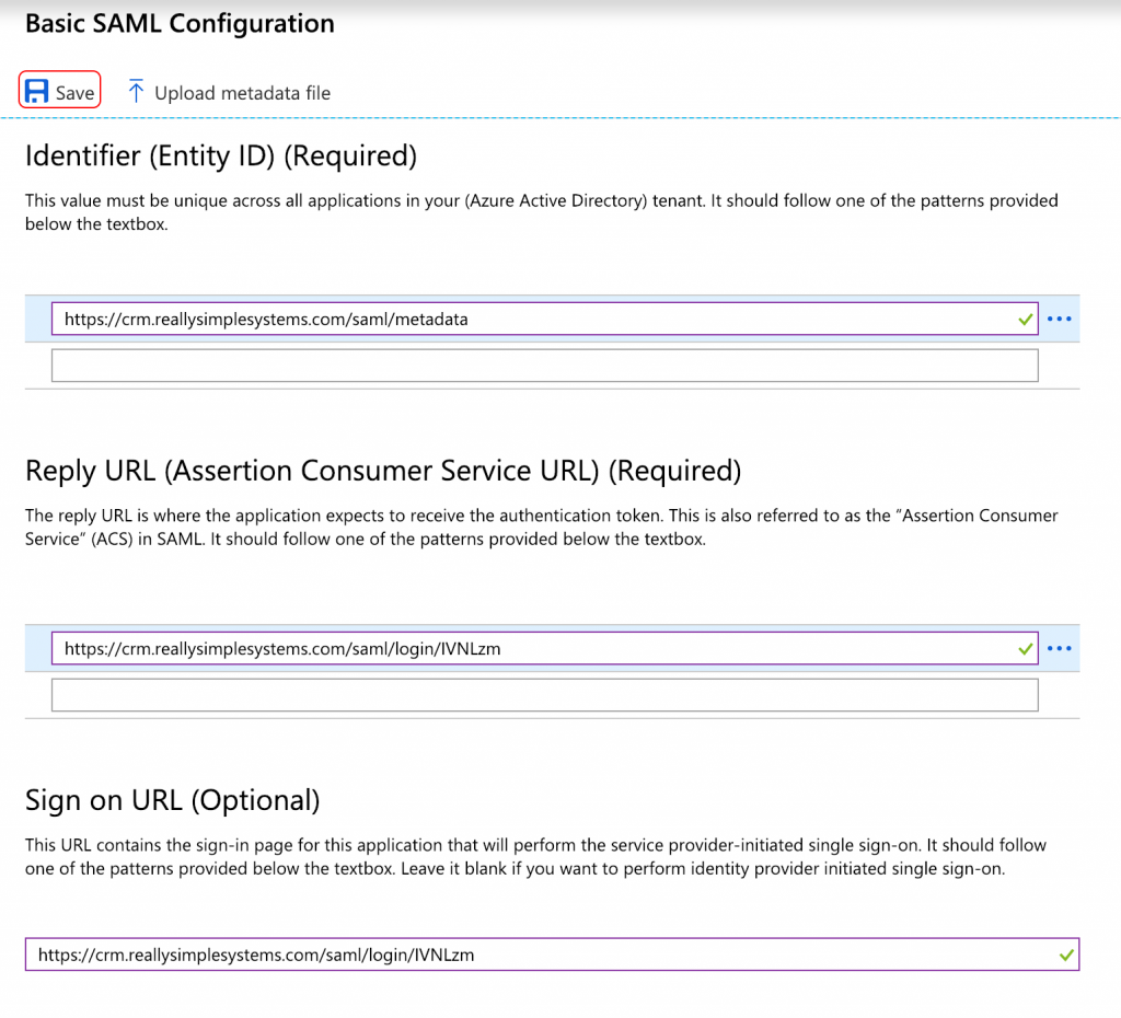 Really Simple Systems URLs filled in Azure stage 1