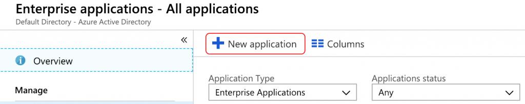 Create a new azure application