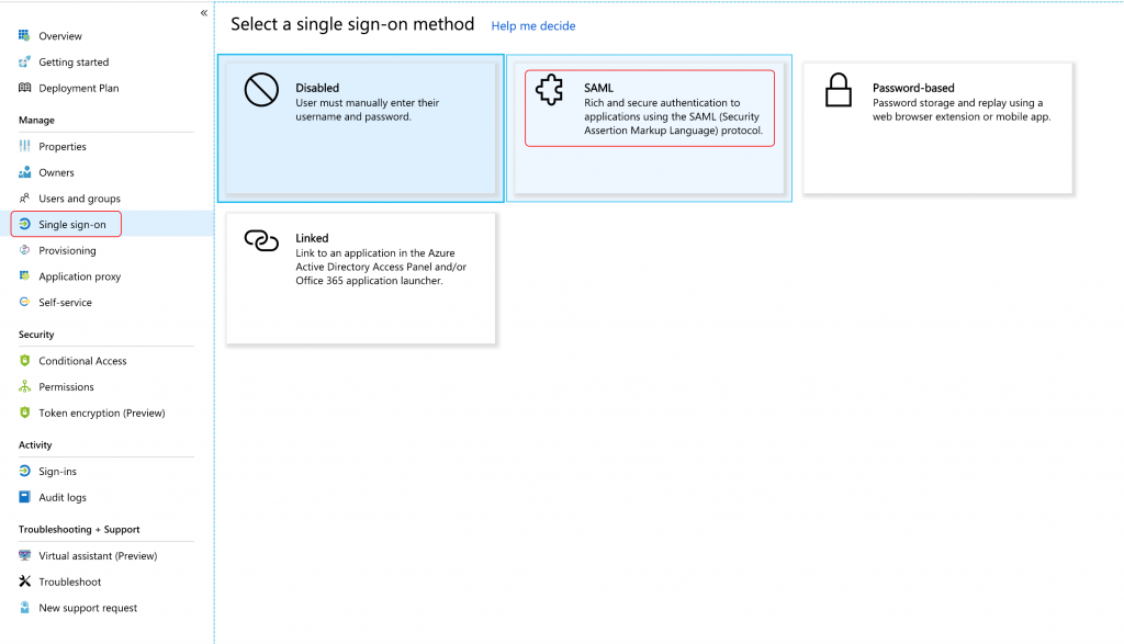 Azure single sign on SAML