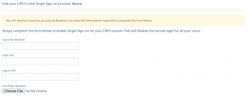 Required fields to set up Azure Really Simple Systems CRM